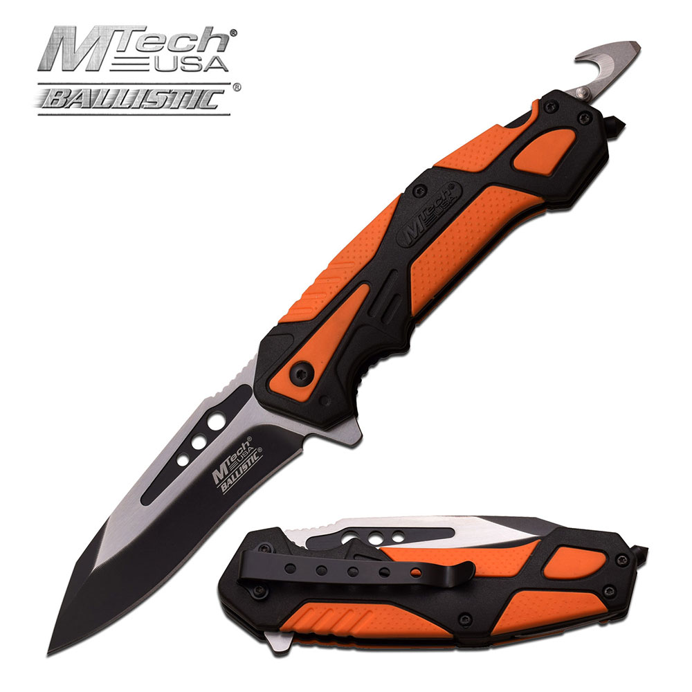 "Spring-Assist Folding Knife Mtech 3.5"" Black Silver Blade Orange Rescue Hook Edc"