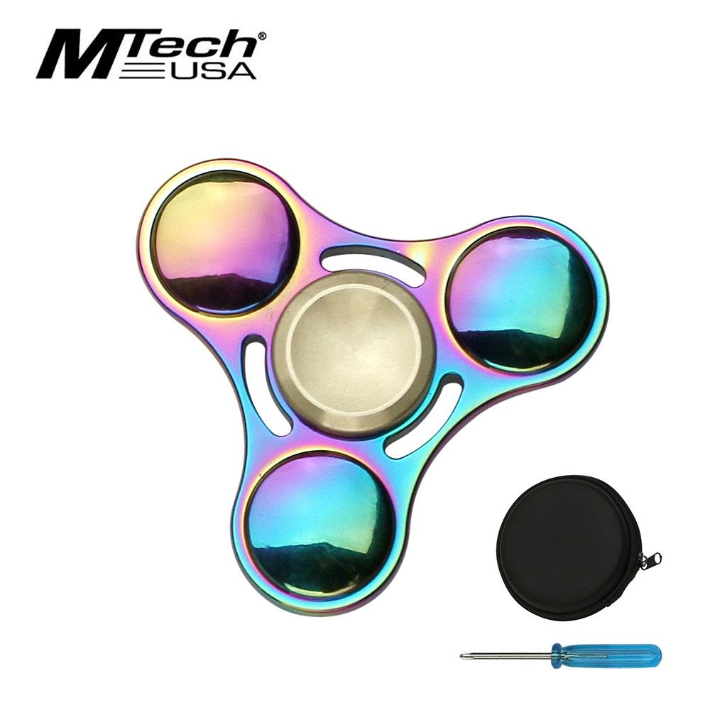 Fidget Spinner High Quality Round Rainbow Titanium Nitrite 4-Minute Spin + Case
