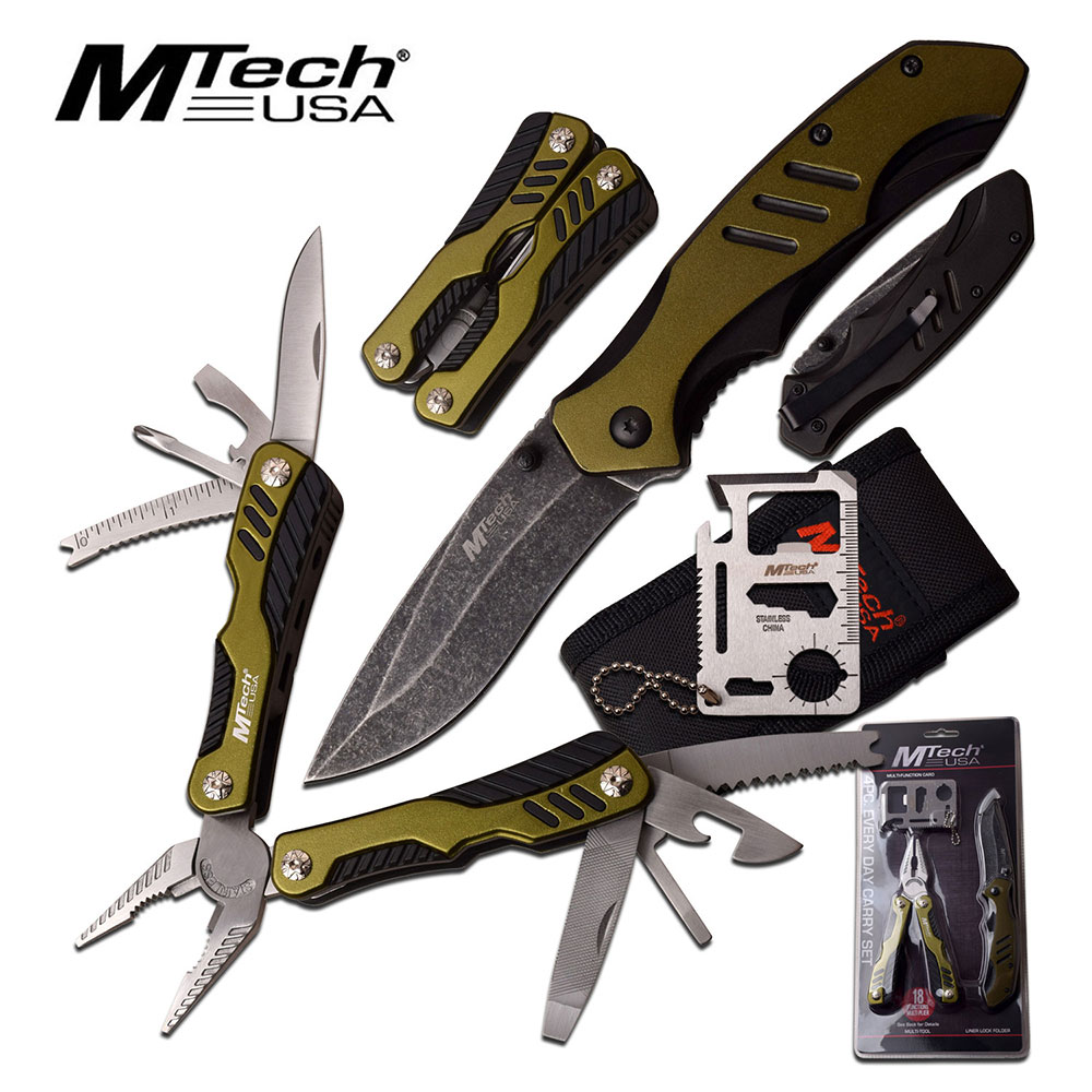 UTILITY KNIFE SET | 4 Pc. Survival Work Kit Credit Card Multi-Tool Folding Blade