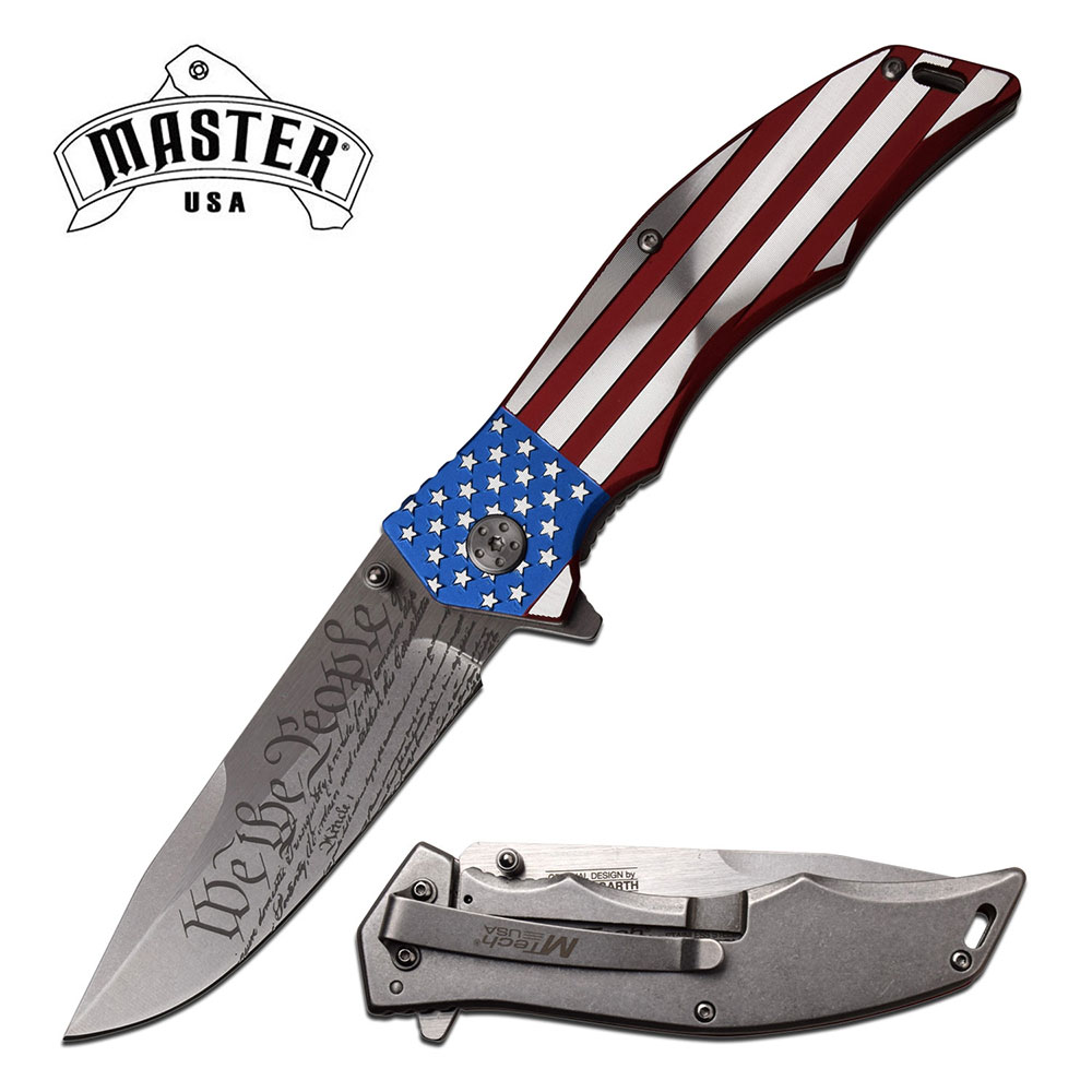 Spring-Assist Folding Knife American Flag Patriot US Constitution, We the People