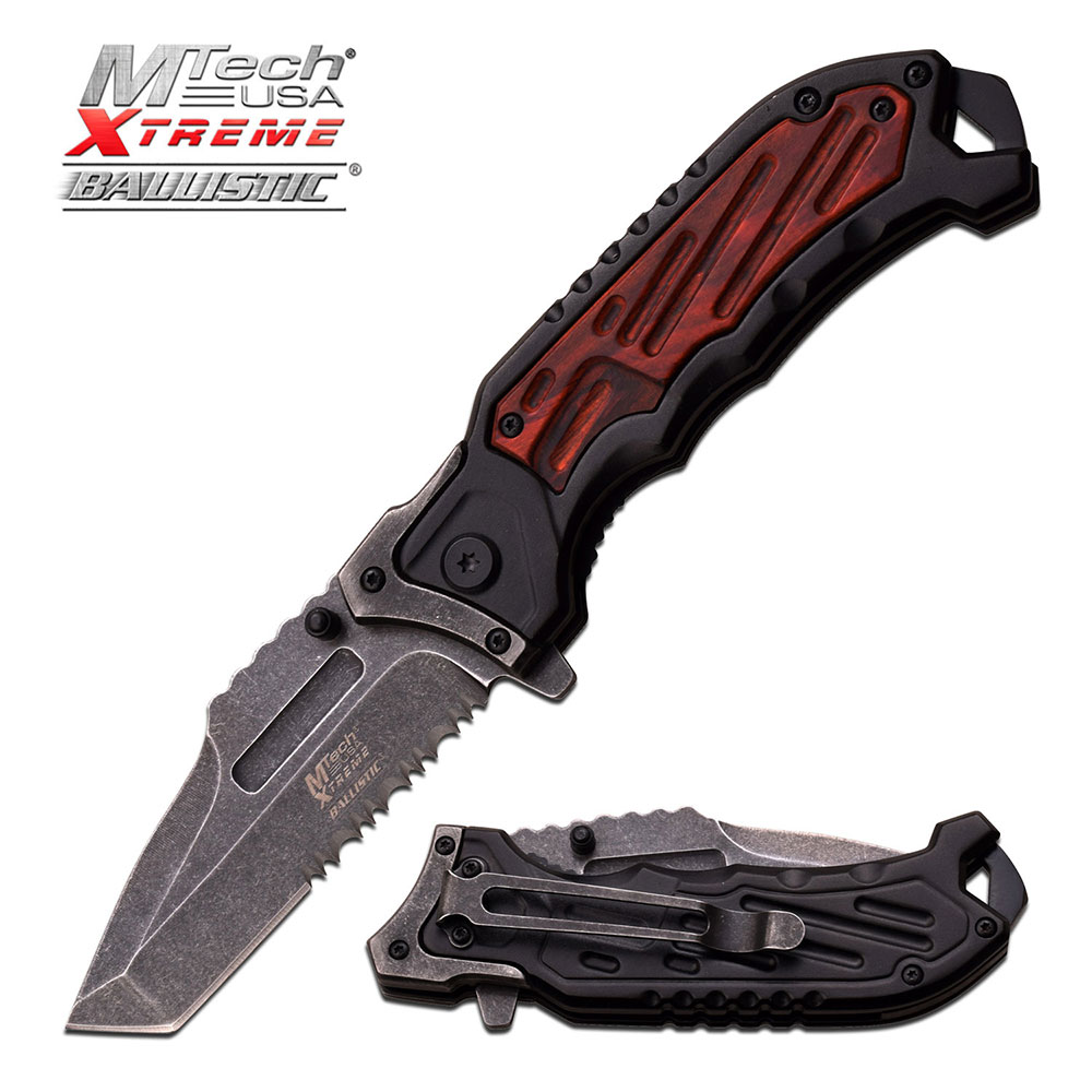 Spring-Assist Folding Pocket Knife | Mtech Serrated Stone Gray Tanto Blade Edc