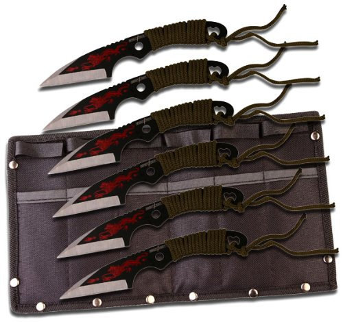 "7.5"" Cord Wrapped Red Dragon 6-Pc. Throwing Knife Set W/ Sheath"