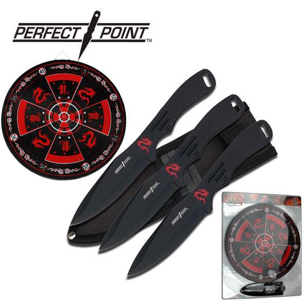"Perfect Point 8"" Black 3-Pc. Throwing Knife Set W/ Target Board"