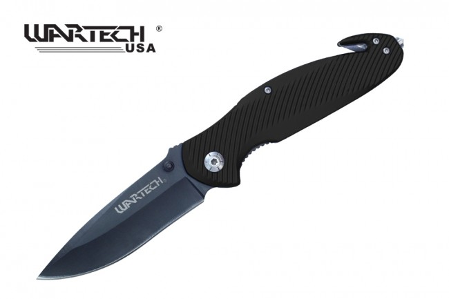 "Spring-Assisted Folding Knife | Wartech Black 3.5"" Blade Rescue Tactical Edc"