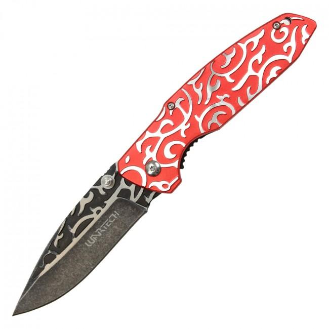 Spring-Assisted Folding Knife   Wartech Stonewash Red Elegant Fantasy Edc