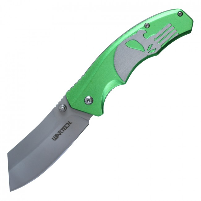 Spring-Assist Folding Pocket Knife Wartech Green Skull Gray Blade Tactical Razor