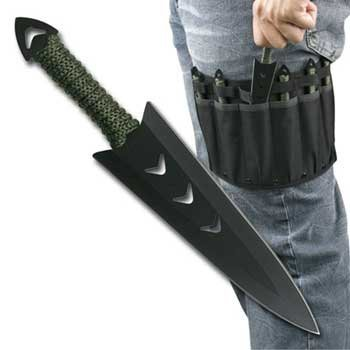 "6 Piece 6.5"" Wicked Warrior Throwing Knife Set W/ Leg Sheath"