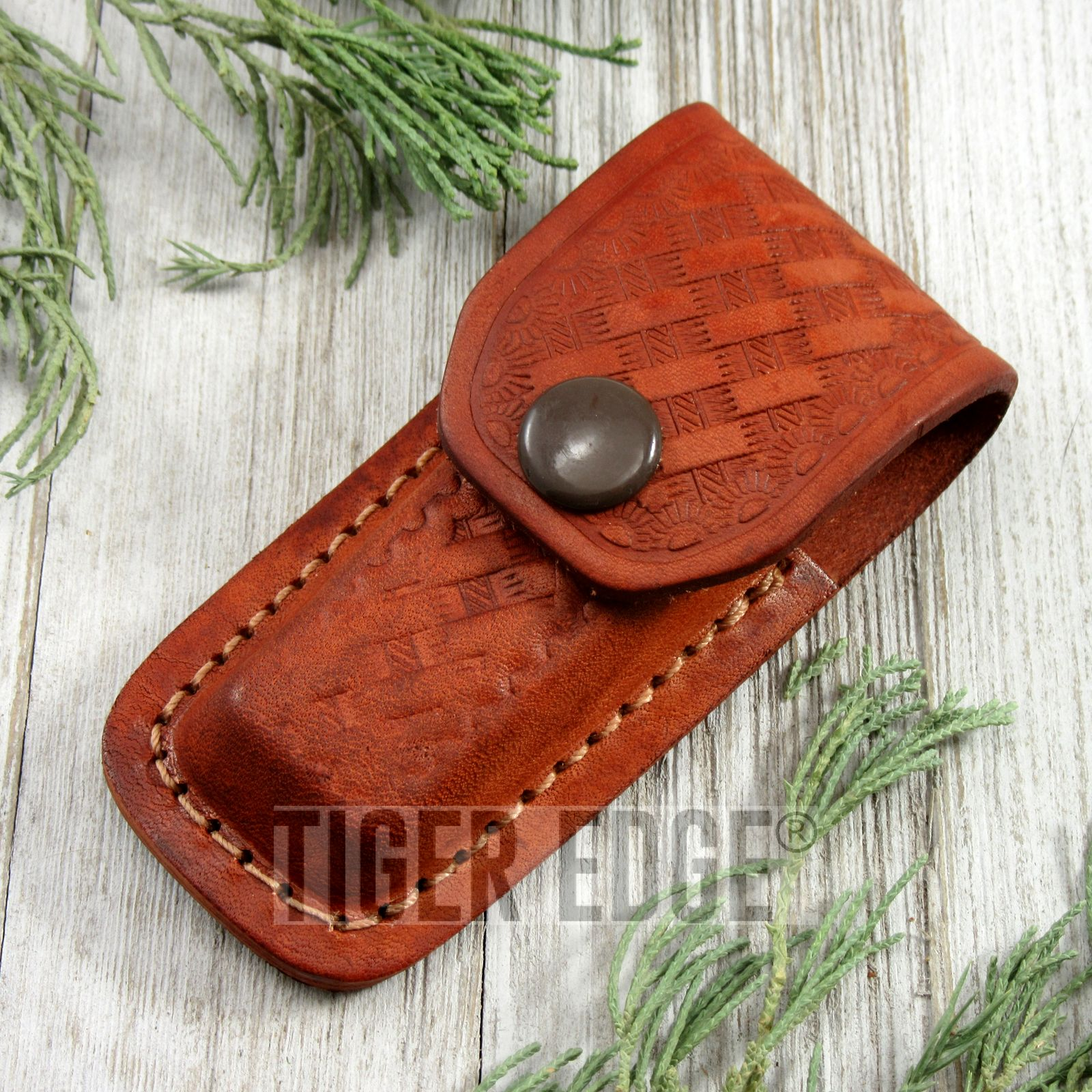 Folding Knife Sheath Brown Embossed Leather Belt Pouch - For Folders Up To 3.5