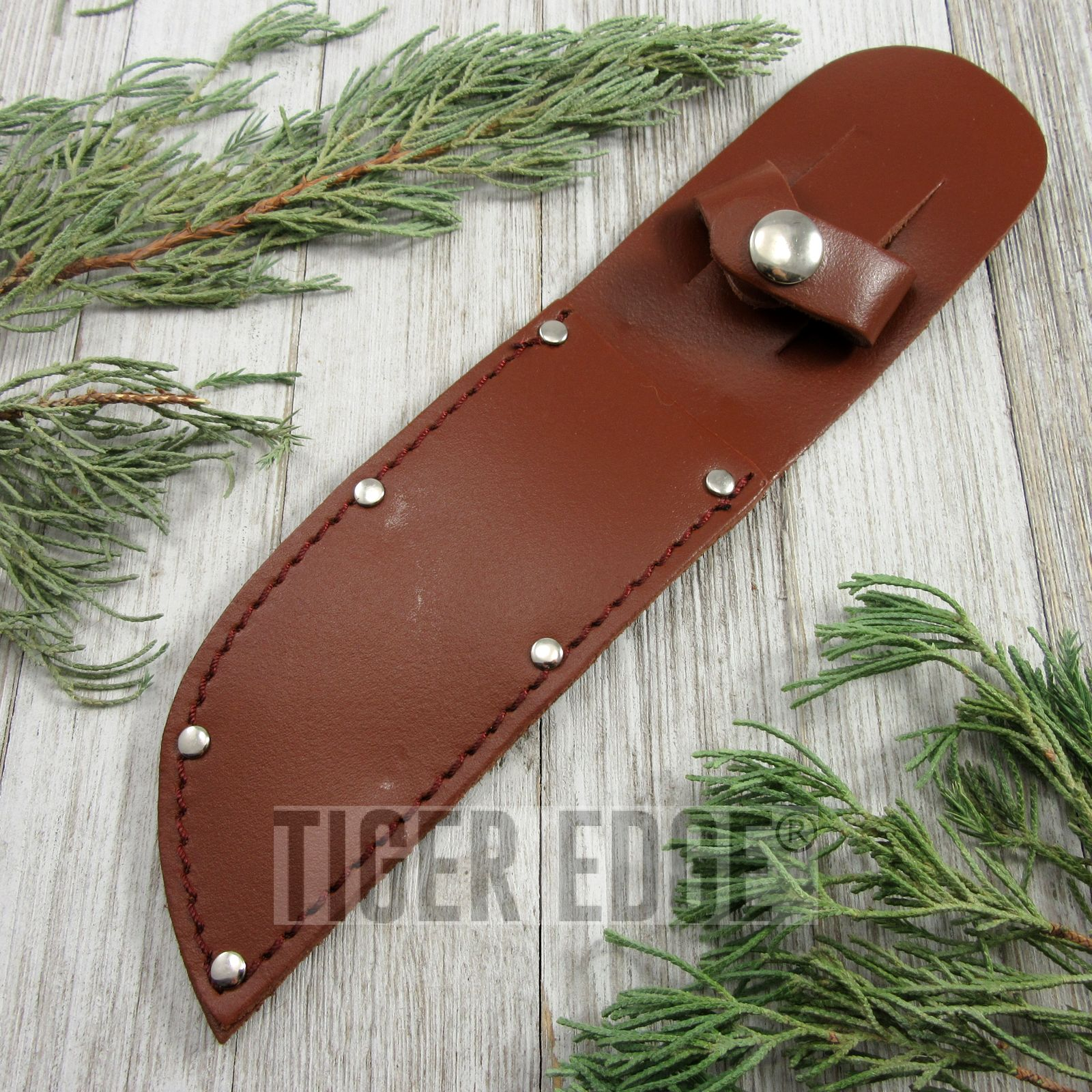 Fixed-Blade Knife Sheath | Brown Leather Belt Pouch - For Blades Up To 5