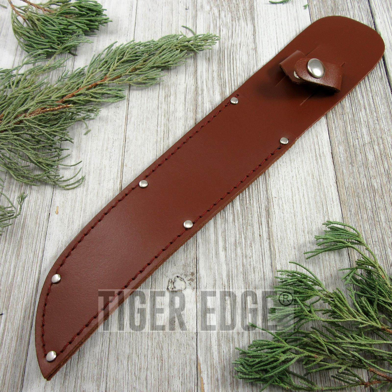 Fixed-Blade Knife Sheath | Brown Leather Belt Pouch - For Blades Up To 8""