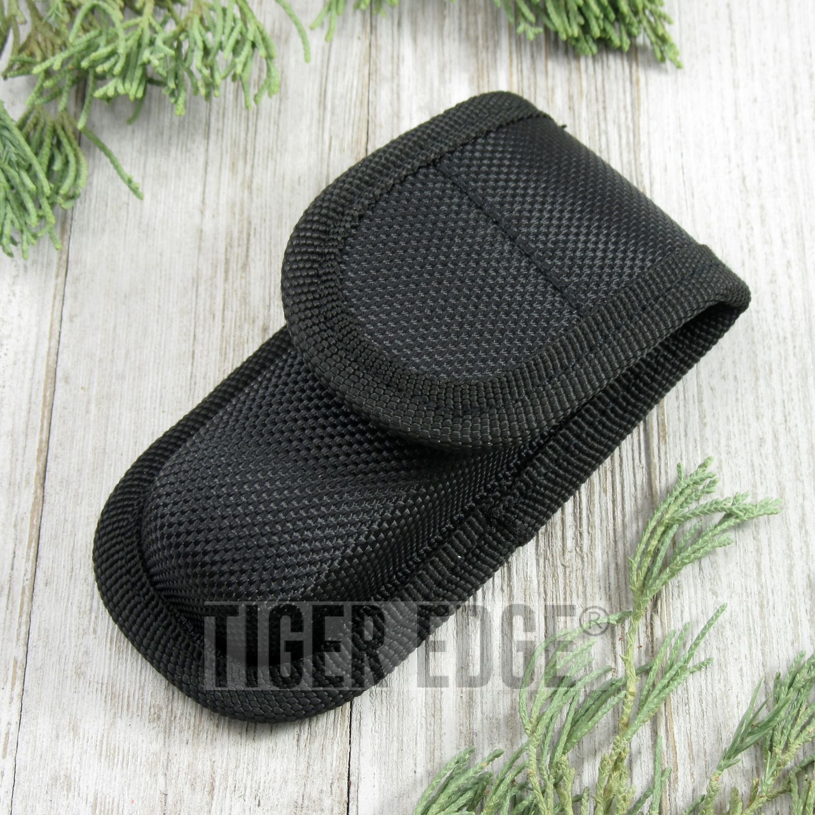 Folding Knife Sheath Hard Molded Tactical Black Nylon Case Pouch - Fits 3