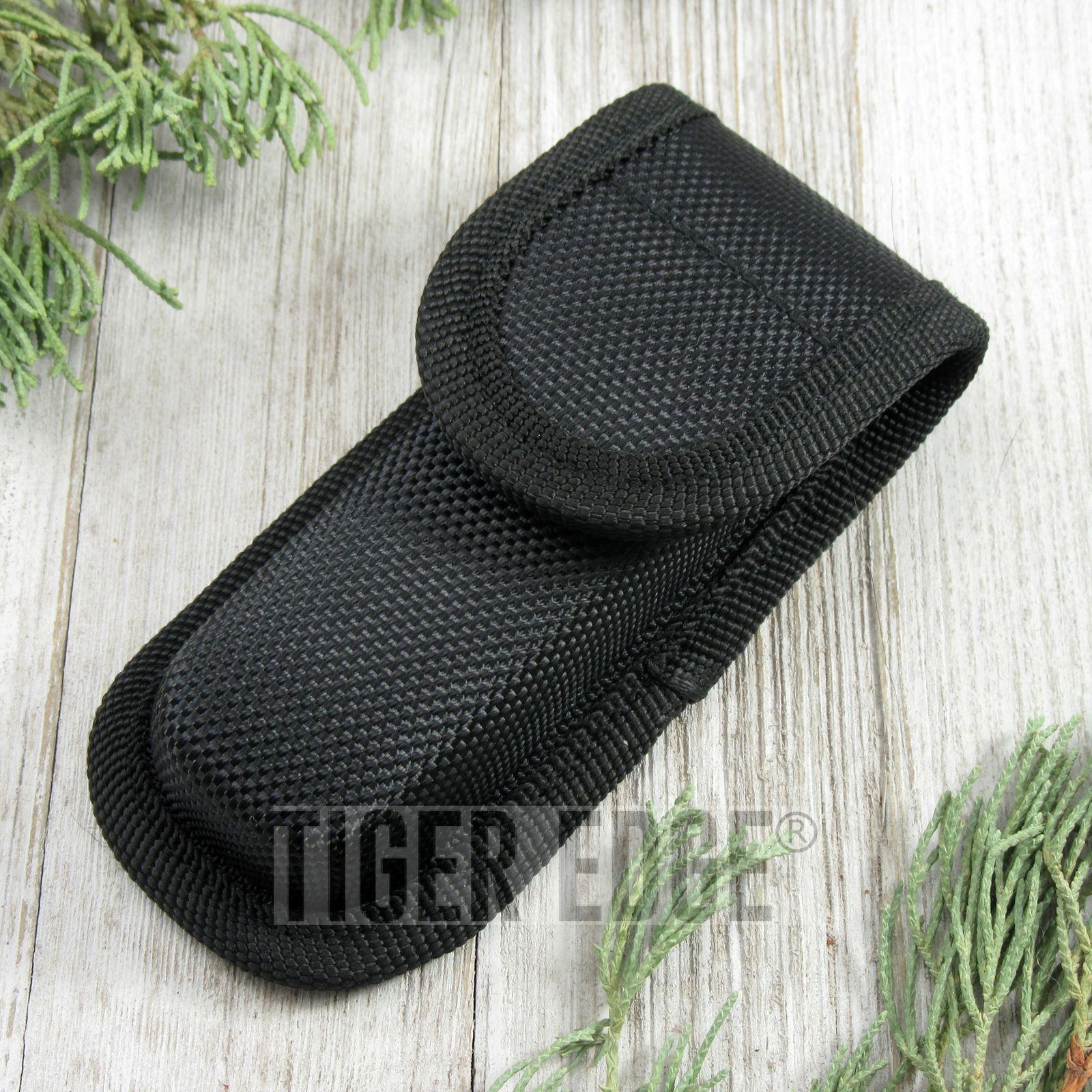 Folding Knife Sheath Hard Molded Tactical Black Nylon Case Pouch - Fits 4