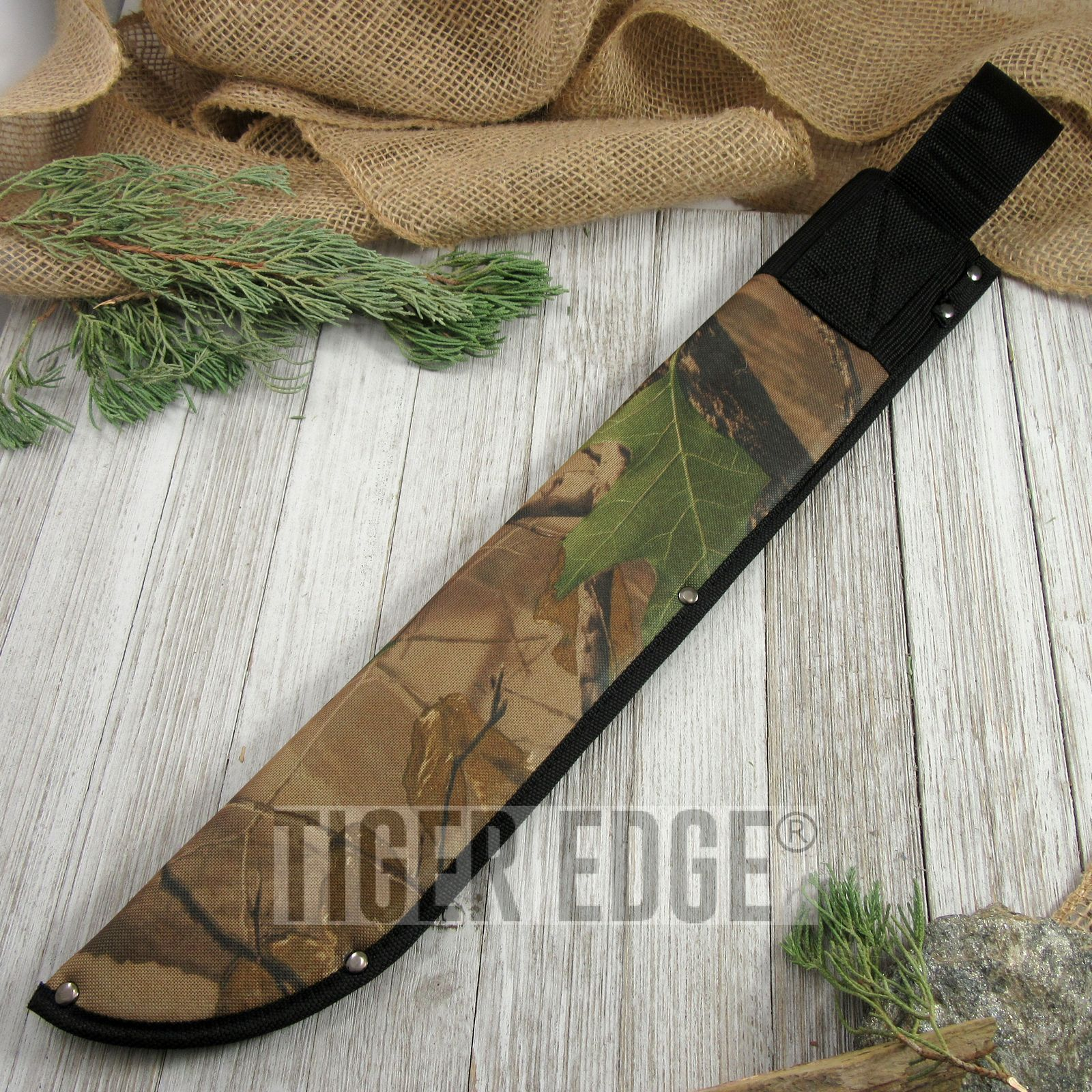 Fixed-Blade Knife Sheath | Camo Machete Belt Carry Case Pouch - Up To 18