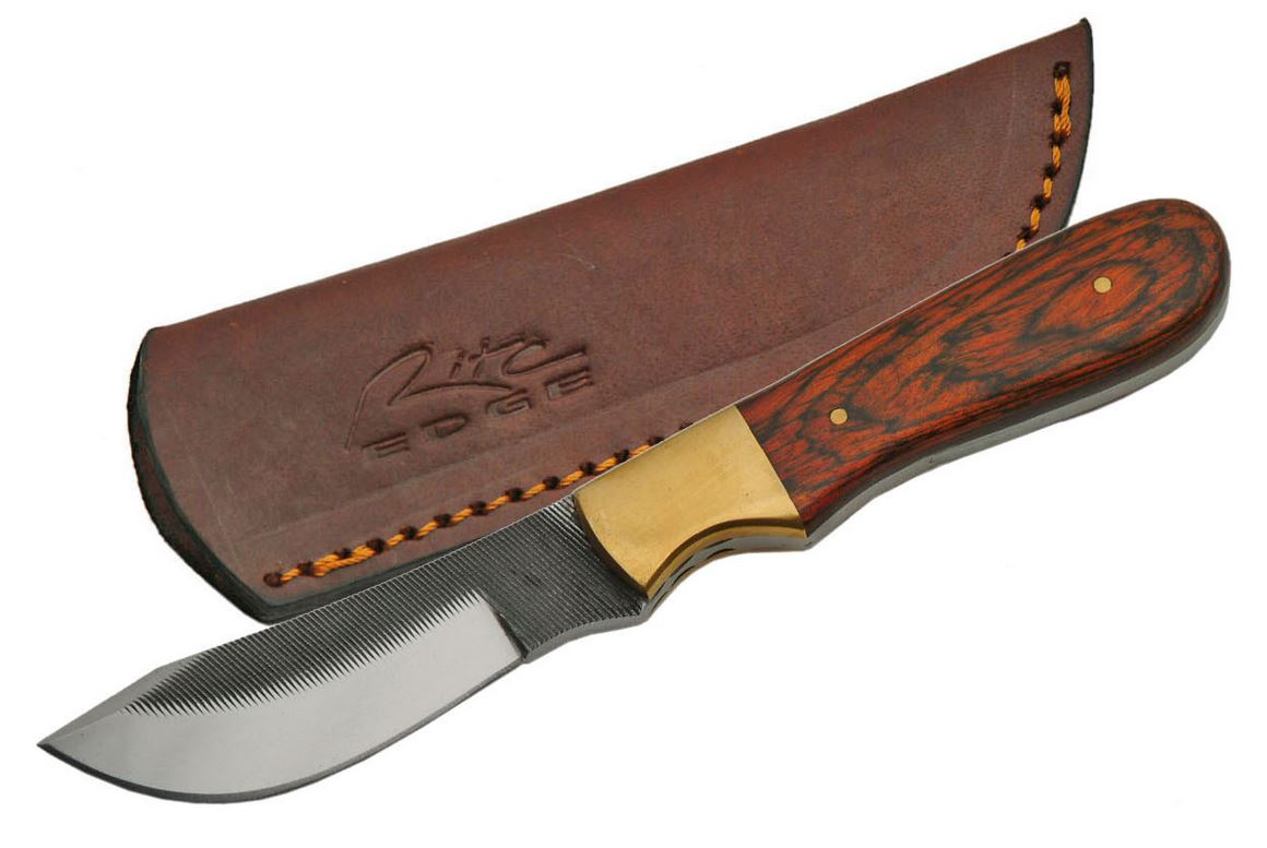 "Fixed-Blade Hunting Knife | 7.25"" Pot Belly Full Tang File Blade Wood Skinner"