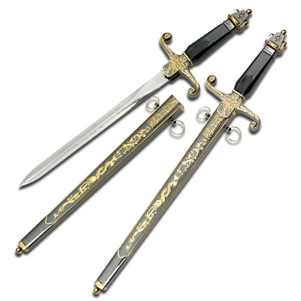 "18.5"" Runic Medieval Short Sword Dagger with Scabbard"