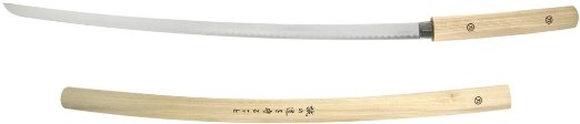 "38.5"" Wood-Style Japanese Inscribed Shirasaya Katana Nodachi Sword"