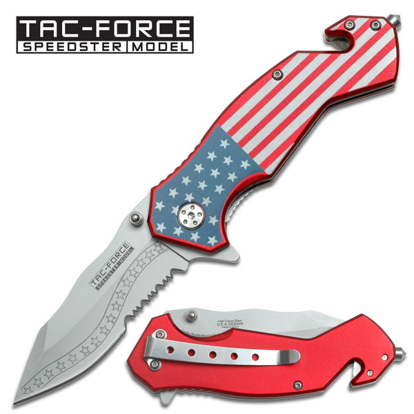 Spring-Assisted American Flag Tactical Rescue Folding Knife