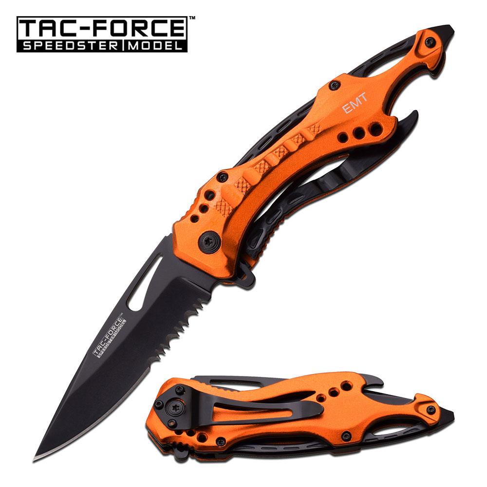 Spring-Assist Folding Pocket Knife Tac-Force Emt Paramedic Orange Black Serrated