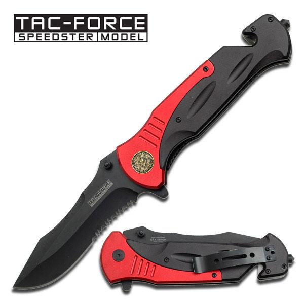Spring-Assist Folding Pocket Knife Red Black Blade Serrated Firefighter Rescue