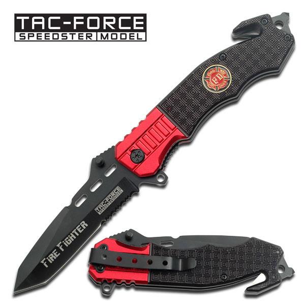 Spring-Assist Folding Pocket Knife Tac-Force Firefight Red Black Tanto Serrated