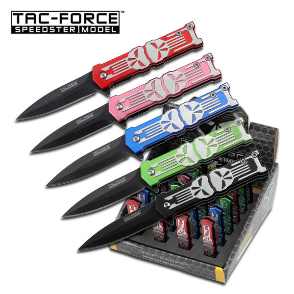 Spring-Assist Folding Knife Set Tac-Force Mini Black Stiletto Blade Skull 24-Pc.