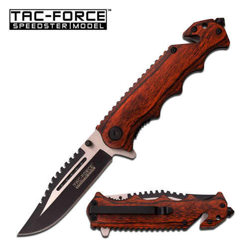 Spring-Assist Folding Pocket Knife | Tac-Force Brown Wood Tactical Hunter Blade