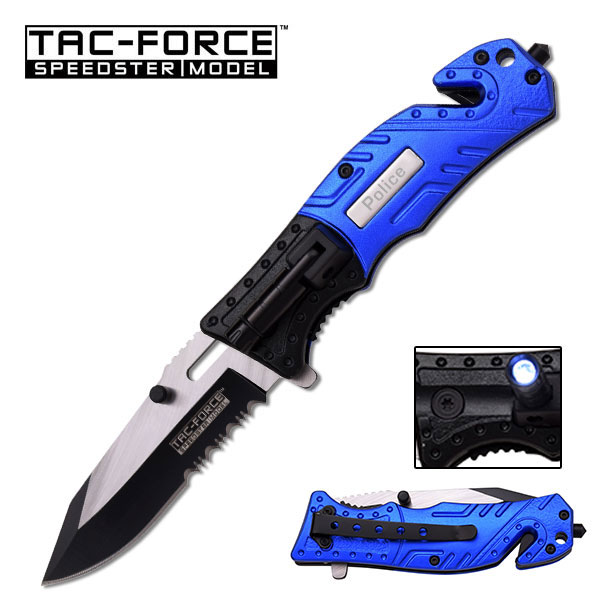 Tac-Force Police Blue Rescue Knife With Led Serrated Spring Assisted Pocket