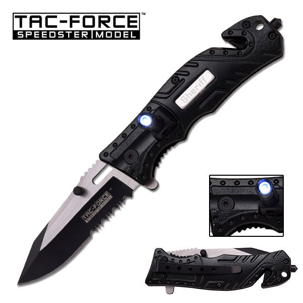 Tac-Force Sheriff Blue Rescue Knife With Led Serrated Spring Assisted Pocket