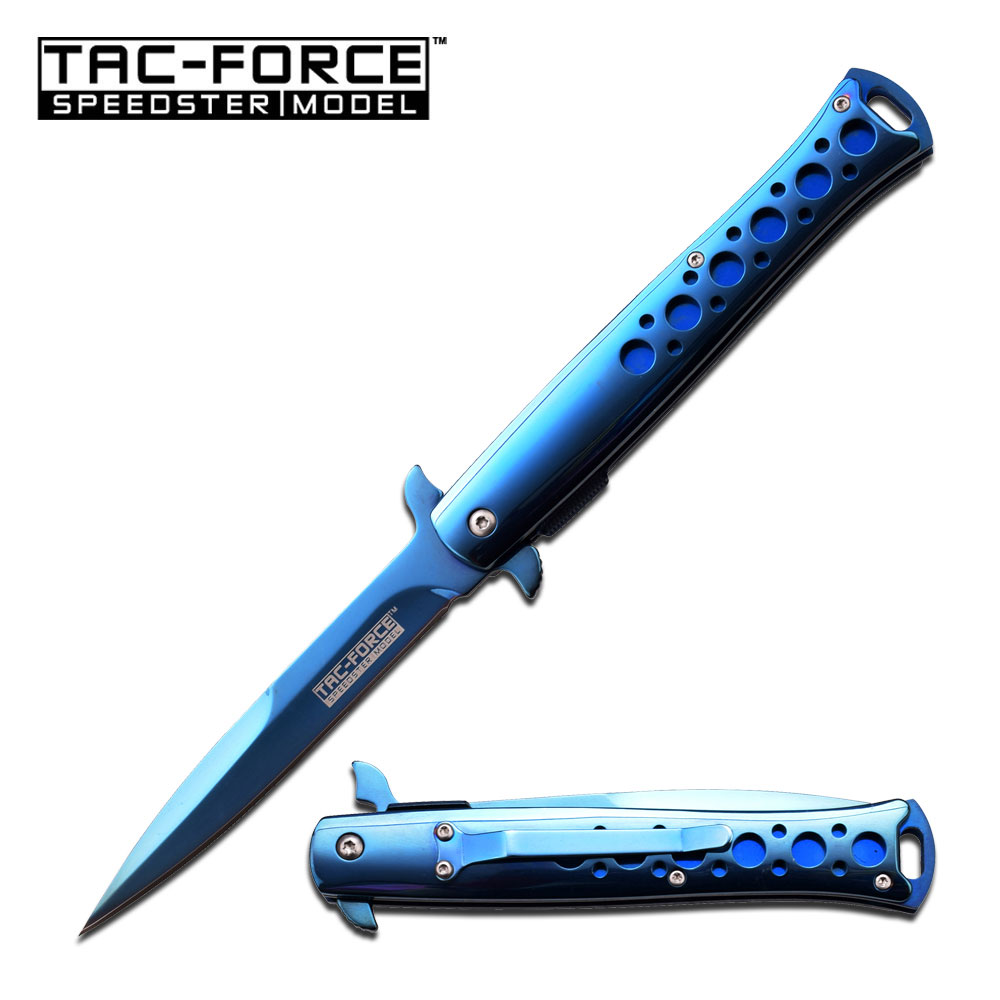 Spring-Assist Folding Pocket Knife | Tac-Force Blue Chrome Stiletto Blade 884Bl