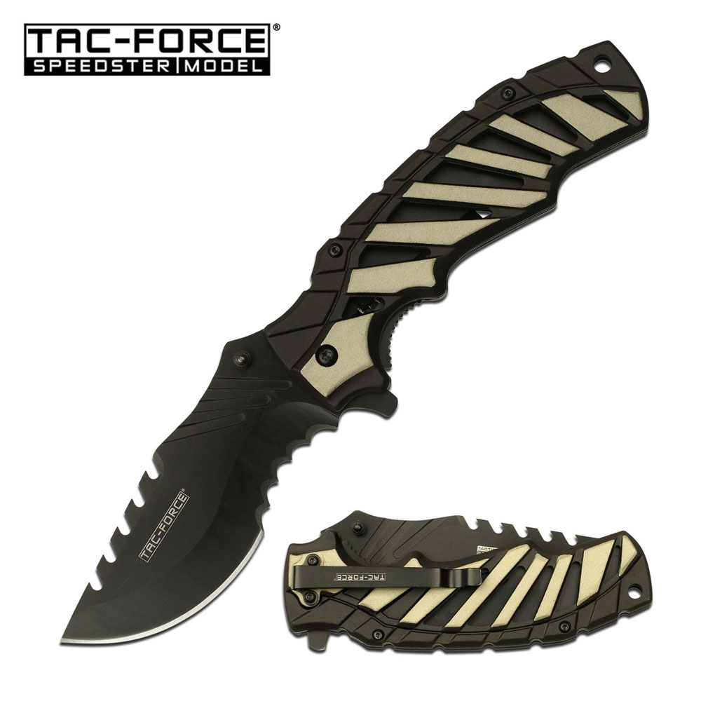 "Spring-Assist Folding Knife | Tac-Force 3.75"" Black Serrated Blade Tan Tactical"
