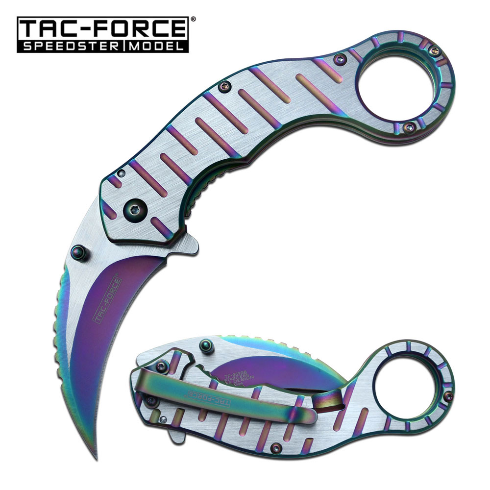 "Spring-Assist Folding Knife | Tac-Force 2.5"" Blade Rainbow Steel Combat Karambit"
