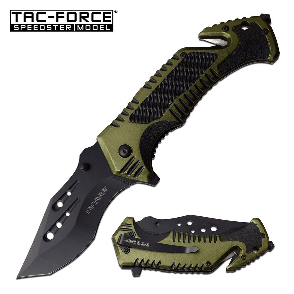 Spring-Assist Folding Knife Glass Break Seatbelt Cutter Tactical Blade Edc Green