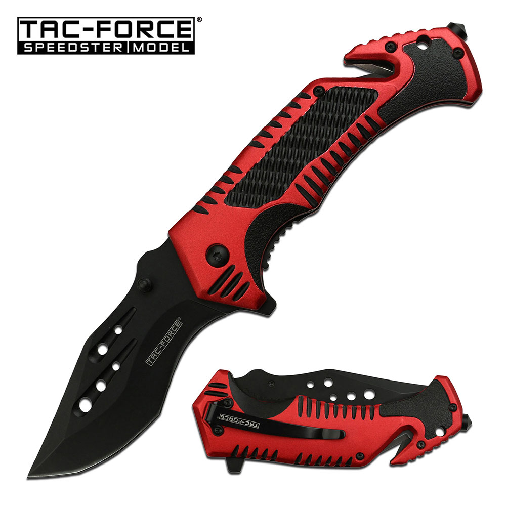 Spring-Assist Folding Knife Glass Break Seatbelt Cutter Tactical Blade Edc Red