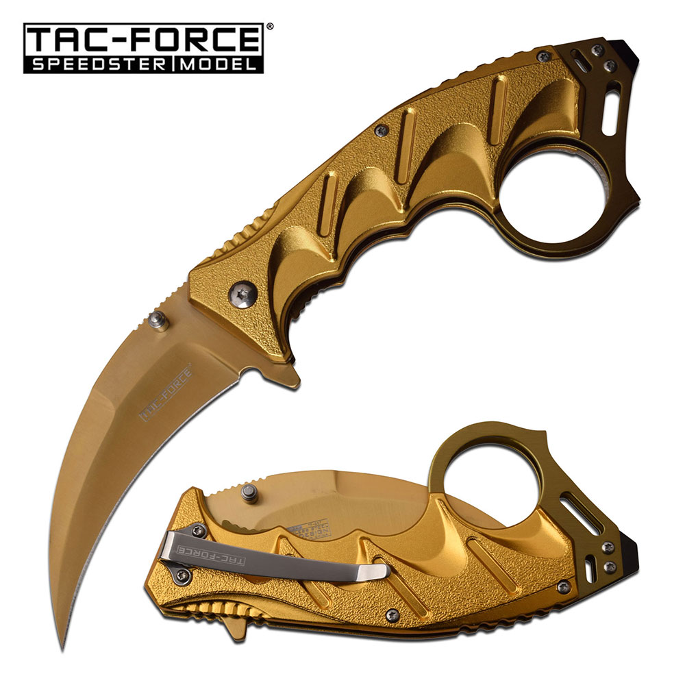 Spring-Assist Folding Karambit Knife | Tac-Force Gold Hawkbill Blade Tactical