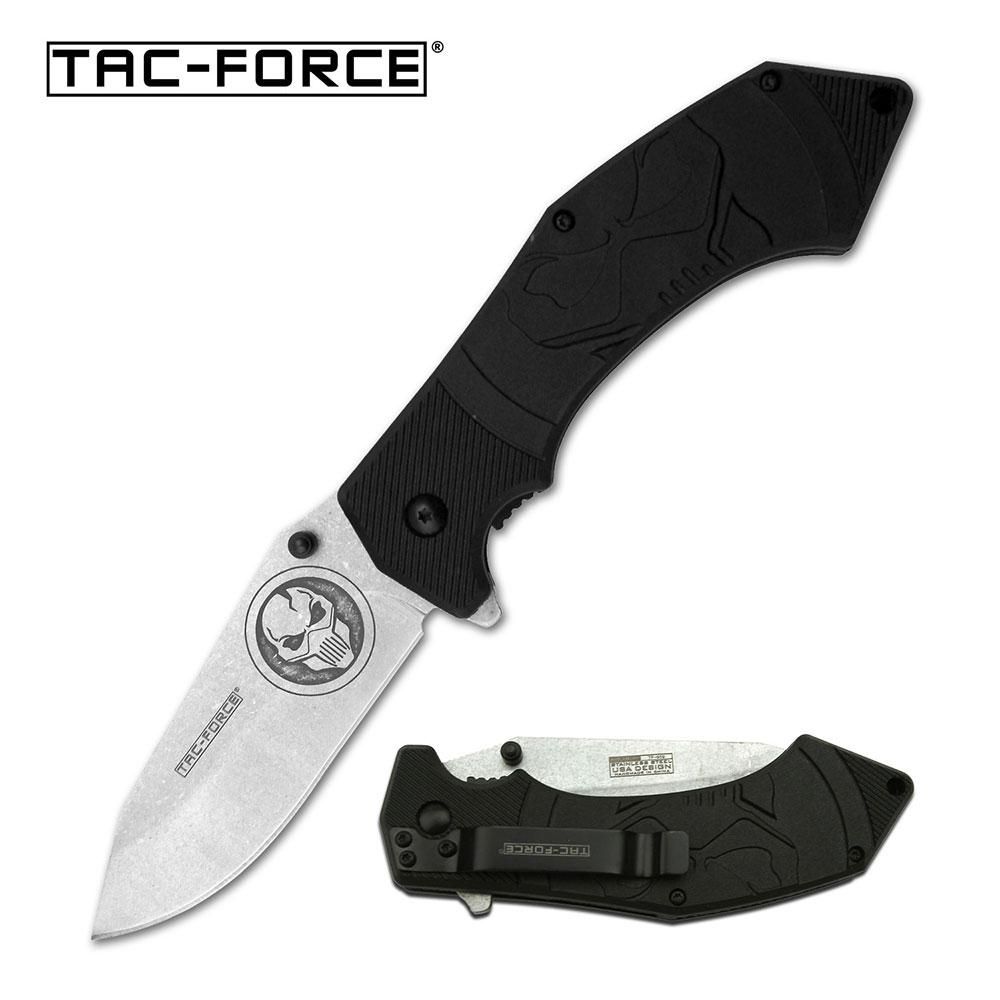 Spring-Assist Folding Knife | Tac-Force Stone Skull Blade Black Tactical Edc