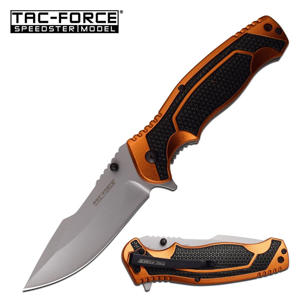 Tactical Spring-Assist Folding Knife | Orange Black Handle Silver 3.5