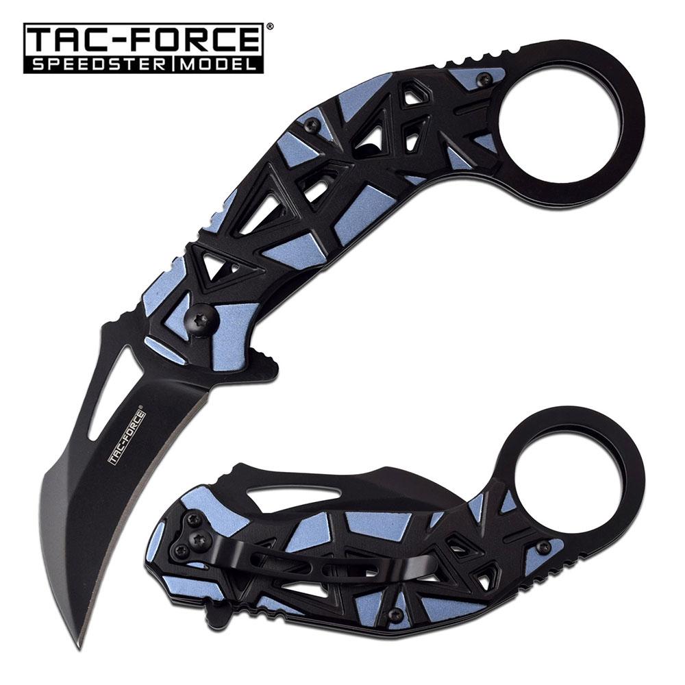 Spring-Assist Karambit Folding Knife Tac-Force Black Blade Blue Tactical Edc