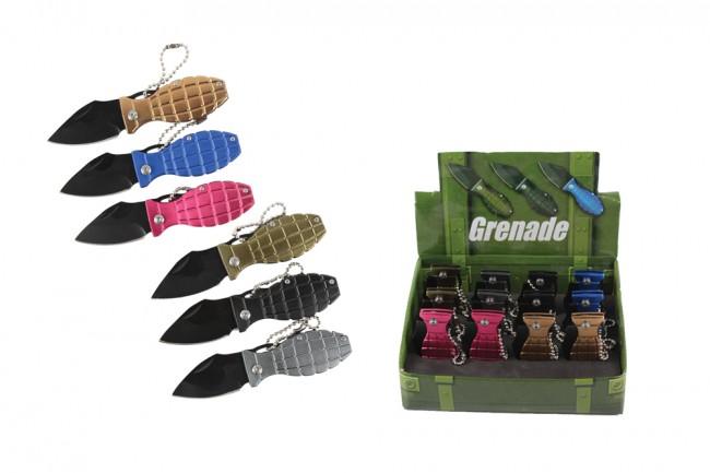 Keychain Knife   12 Piece Mini Grenade Folding Pocket Knife Pop Retail Display