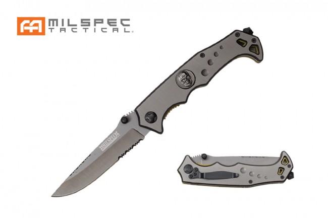 Spring-Assisted Folding Knife Milspec Gray Serrated Skull Titanium Tactical
