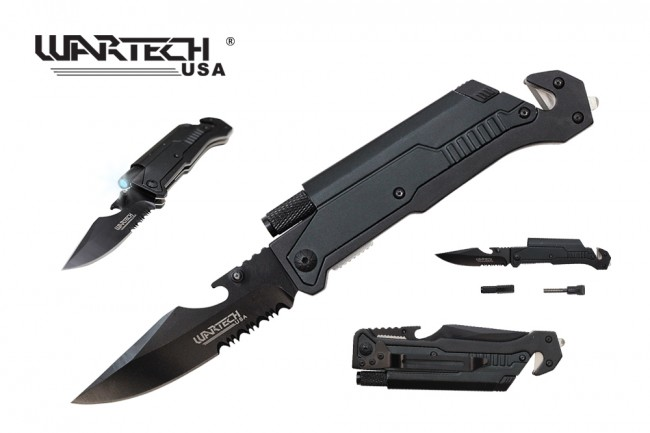 Spring-Assisted Folding Knife Black Belt Cutter, Glass Breaker, Led, Fire Start