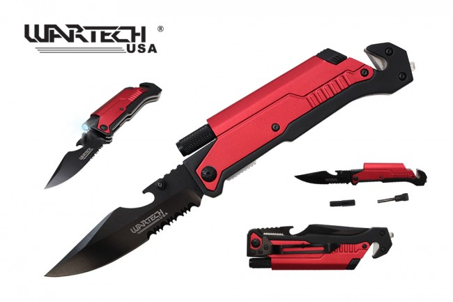 Spring-Assisted Folding Knife Red Belt Cutter, Glass Breaker, Led, Fire Start