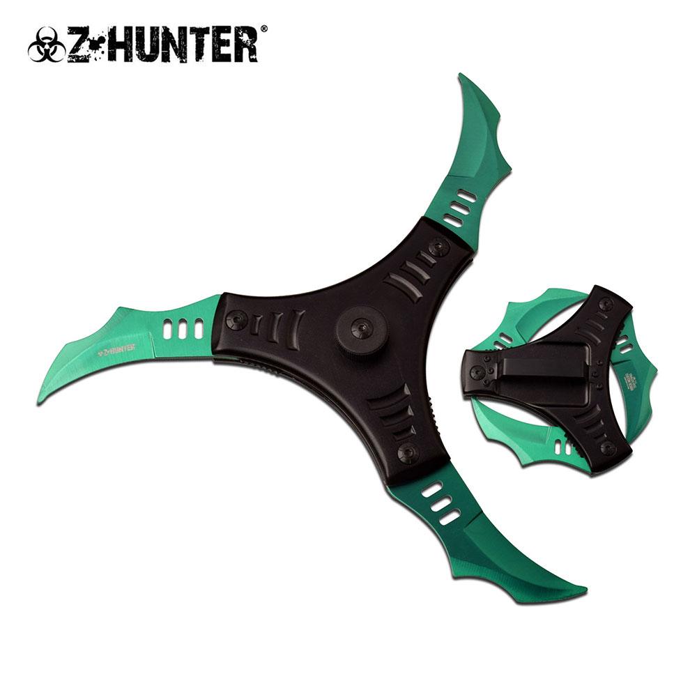 Spring-Assisted Folding Knife | Z-Hunter 3-Blade Green Black Shuriken Ninja Star