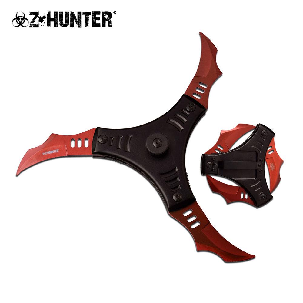 Spring-Assisted Folding Knife | Z-Hunter 3-Blade Red Black Shuriken Ninja Star