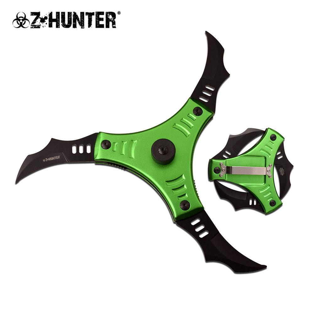 Spring-Assisted Folding Knife | Z-Hunter 3-Blade Black Green Shuriken Ninja Star