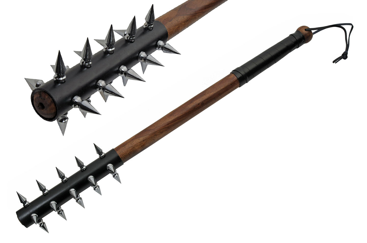 "Medieval Mace | 29"" Overall Wood Handle Leather-Wrapped Spiked Club Truncheon"