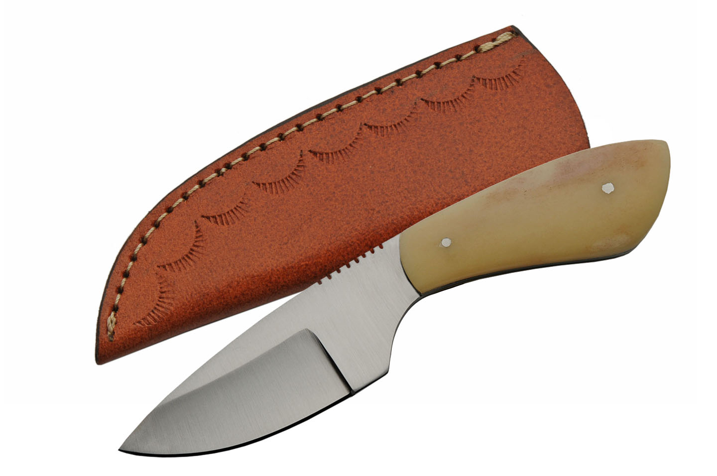 "Hunting Knife | 7"" Overall Full Tang Bone Handle Skinner Blade  + Leather Sheath"