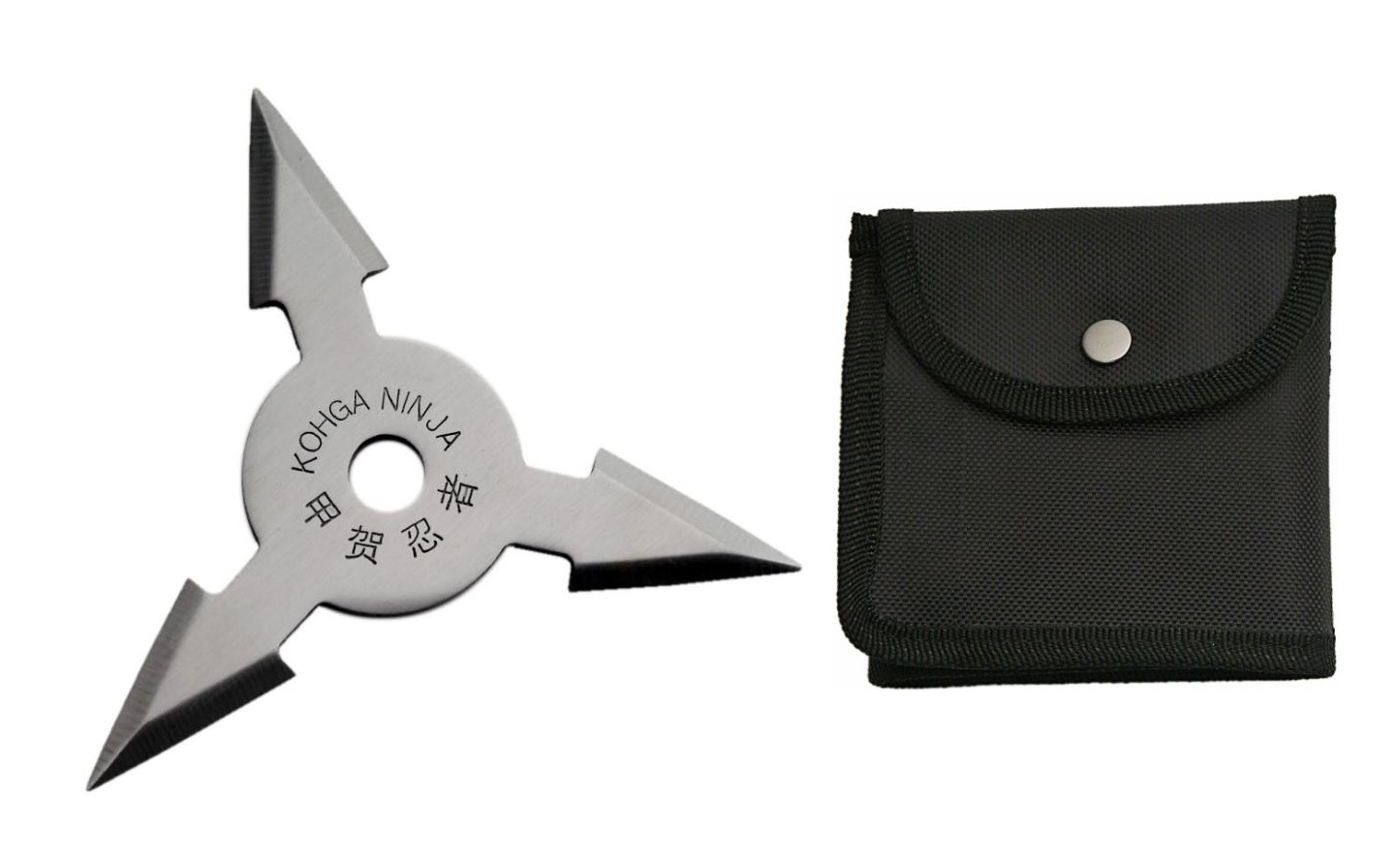 "Throwing Star | 4"" Rite Edge 3 Point Shuriken + Black Nylon Pouch"