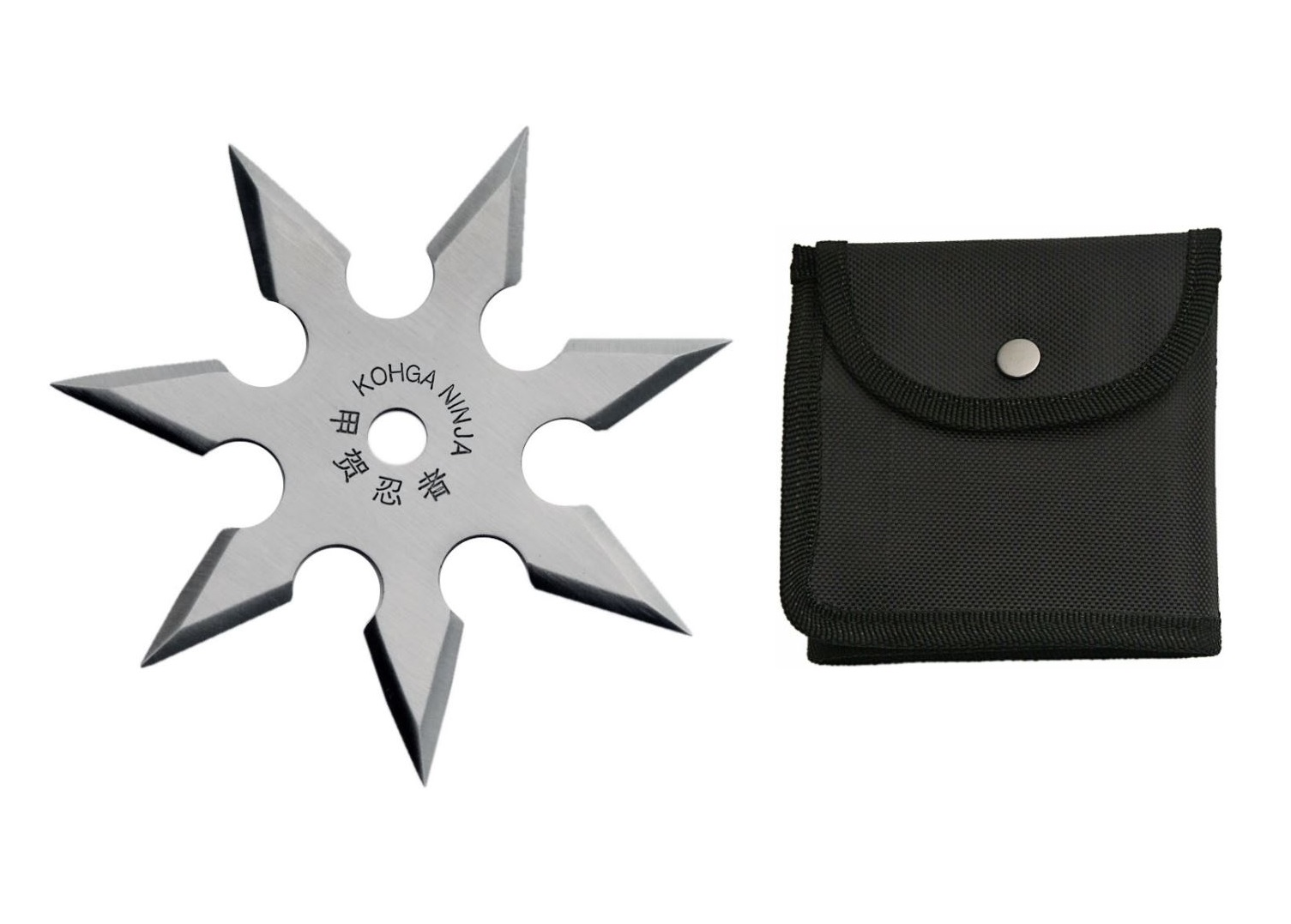 "Throwing Star | 4"" Rite Edge 7 Point Shuriken + Black Nylon Pouch"