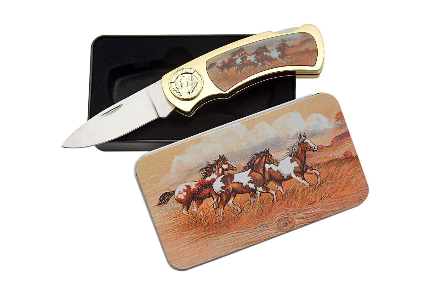 "Folding Knife | 4"" Closed Wild Horse Mustang Stallion Lockback + Tin Display Box"