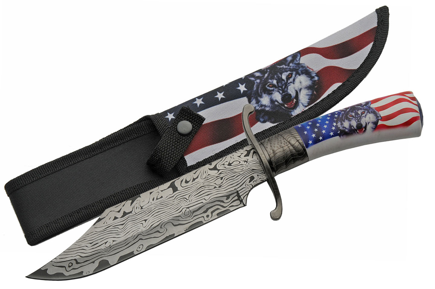 "Bowie Knife | 12"" Overall Usa American Flag Wolf Etched Blade + Sheath"